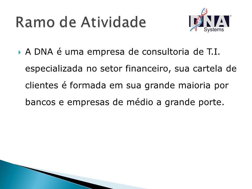 A DNA é uma empresa de consultoria de T.I. especializada no setor financeiro, sua cartela de clientes é formada em sua grande maioria por bancos e emp