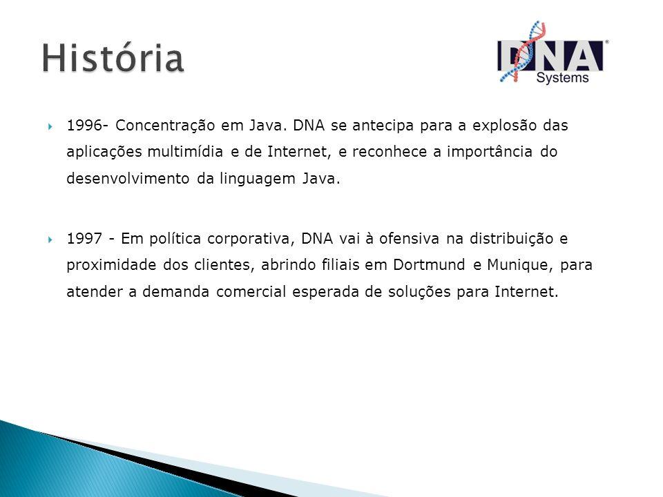 1996- Concentração em Java. DNA se antecipa para a explosão das aplicações multimídia e de Internet, e reconhece a importância do desenvolvimento da l