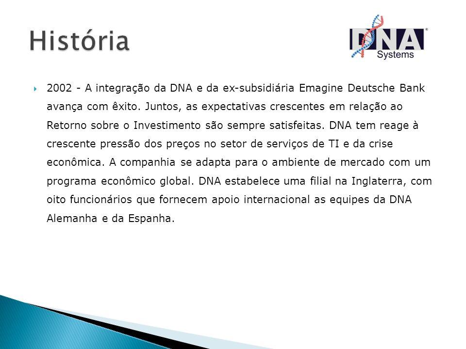2002 - A integração da DNA e da ex-subsidiária Emagine Deutsche Bank avança com êxito. Juntos, as expectativas crescentes em relação ao Retorno sobre
