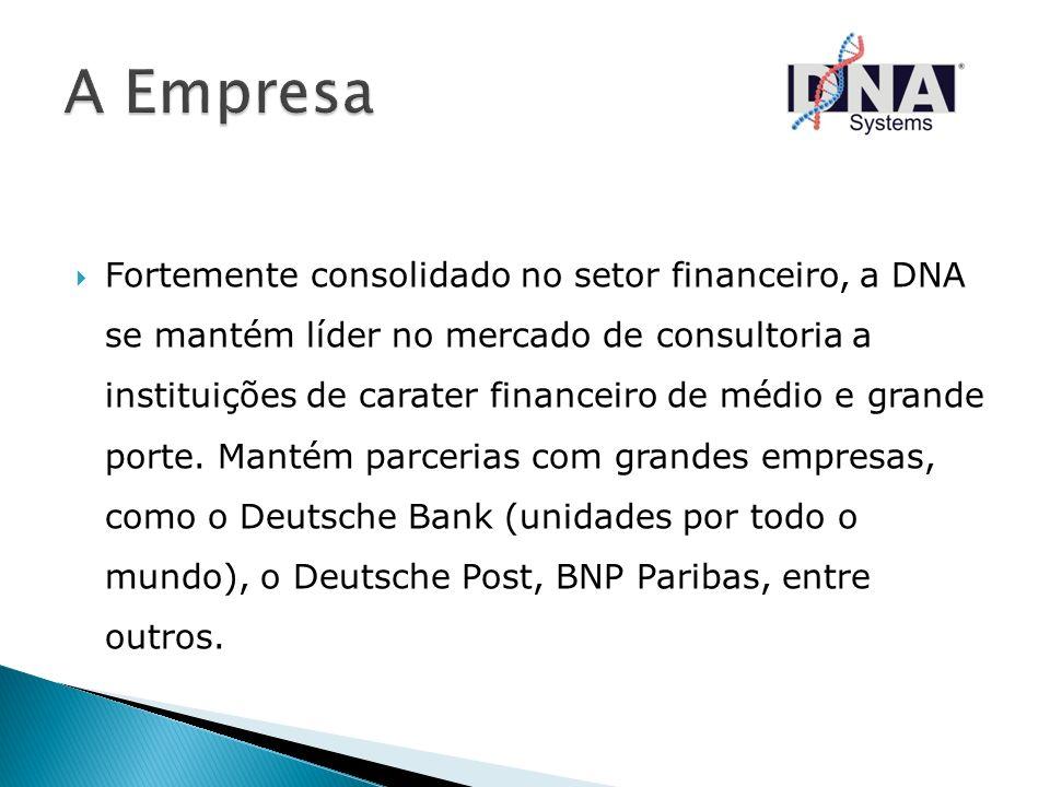 Fortemente consolidado no setor financeiro, a DNA se mantém líder no mercado de consultoria a instituições de carater financeiro de médio e grande por