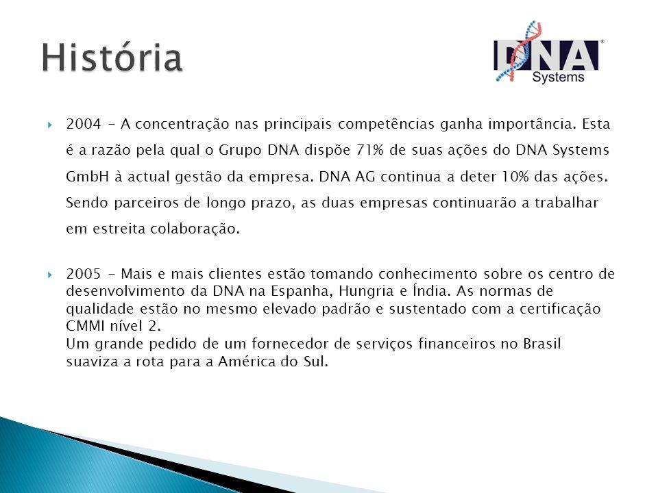 2004 - A concentração nas principais competências ganha importância. Esta é a razão pela qual o Grupo DNA dispõe 71% de suas ações do DNA Systems GmbH