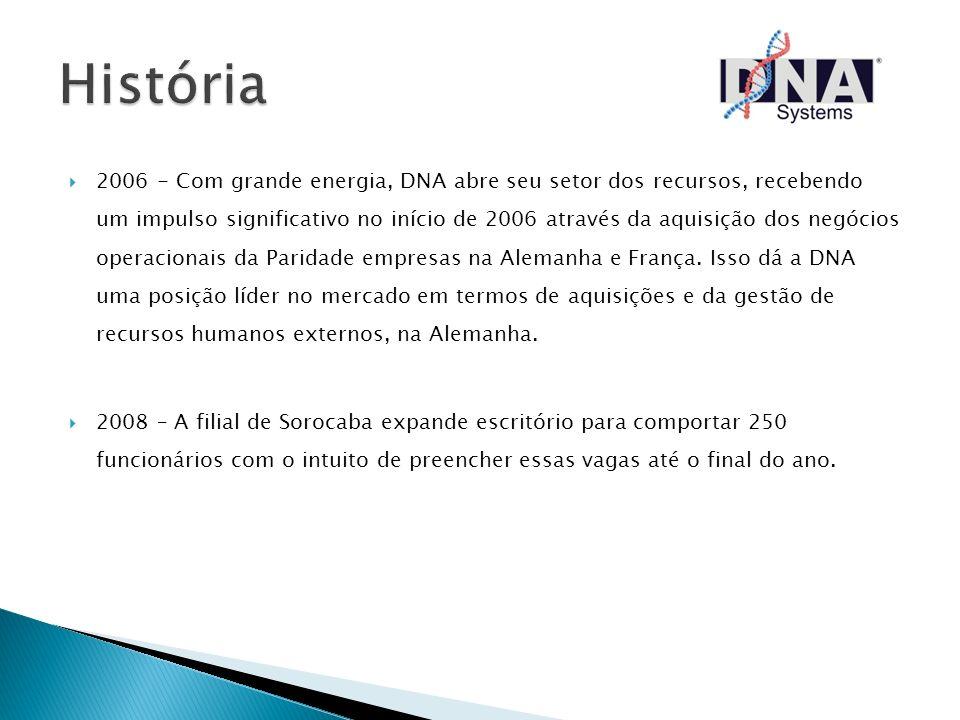 2006 - Com grande energia, DNA abre seu setor dos recursos, recebendo um impulso significativo no início de 2006 através da aquisição dos negócios ope