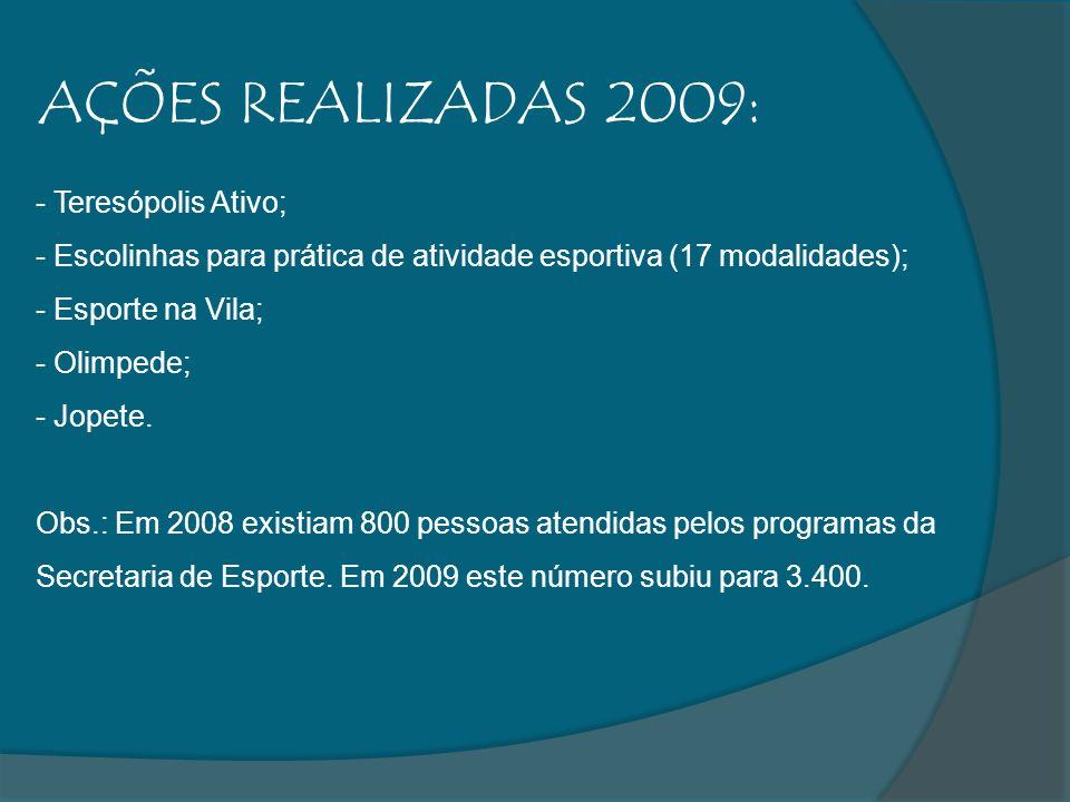 AÇÕES REALIZADAS 2009: - Teresópolis Ativo; - Escolinhas para prática de atividade esportiva (17 modalidades); - Esporte na Vila; - Olimpede; - Jopete