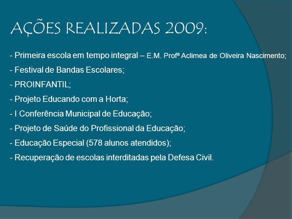 AÇÕES REALIZADAS 2009: - Primeira escola em tempo integral – E.M. Profª Aclimea de Oliveira Nascimento; - Festival de Bandas Escolares; - PROINFANTIL;