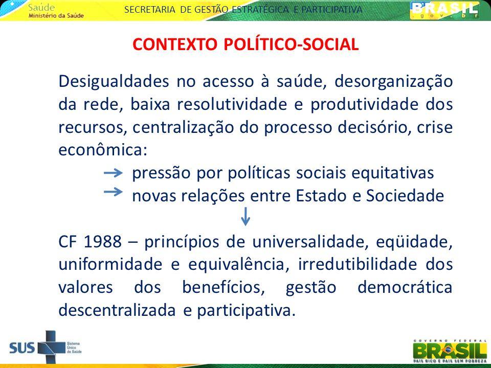 SECRETARIA DE GESTÃO ESTRATÉGICA E PARTICIPATIVA MUDANÇAS NA SAÚDE PÓS CF 1988 (SIIONATO, 1997) Conceito de saúde como um processo de convergência de políticas públicas, econômicas e sociais.