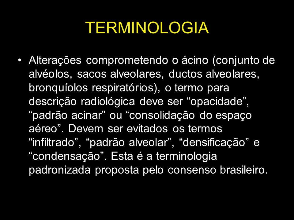 TERMINOLOGIA Alterações comprometendo o ácino (conjunto de alvéolos, sacos alveolares, ductos alveolares, bronquíolos respiratórios), o termo para des