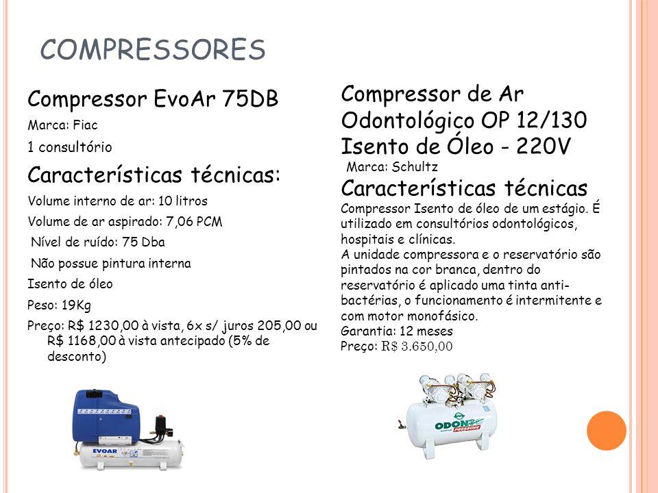 COMPRESSORES Compressor EvoAr 75DB Marca: Fiac 1 consultório Características técnicas: Volume interno de ar: 10 litros Volume de ar aspirado: 7,06 PCM