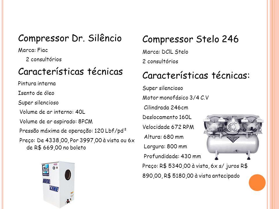 Compressor Dr. Silêncio Marca: Fiac 2 consultórios Características técnicas Pintura interna Isento de óleo Super silencioso Volume de ar interno: 40L