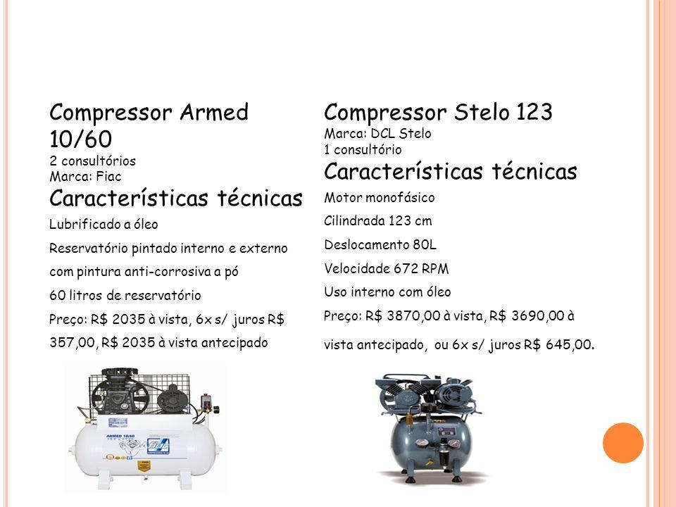 Compressor Armed 10/60 2 consultórios Marca: Fiac Características técnicas Lubrificado a óleo Reservatório pintado interno e externo com pintura anti-