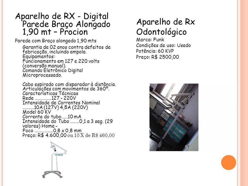 Aparelho de RX - Digital Parede Braço Alongado 1,90 mt – Procion Parede com Braço alongado 1,90 mts Garantia de 02 anos contra defeitos de fabricação,