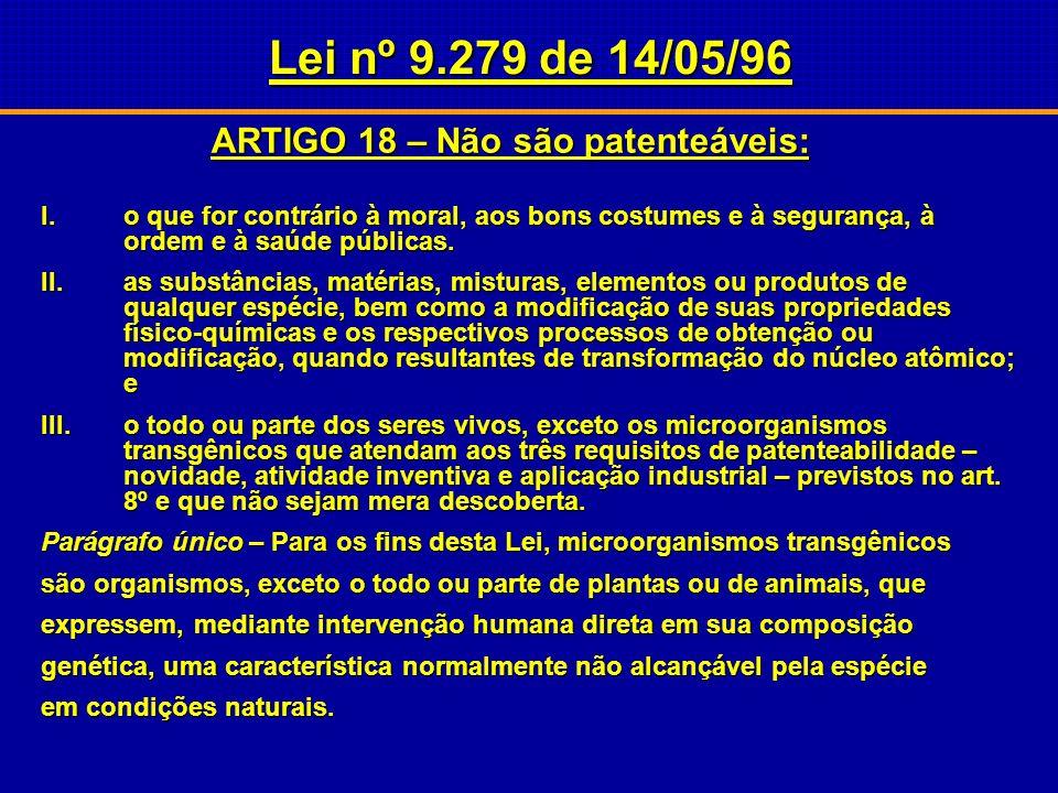 Lei nº 9.279 de 14/05/96 ARTIGO 10 Não se considera invenção nem modelo de utilidade: Item IX – o todo ou parte de seres vivos naturais e materiais bi