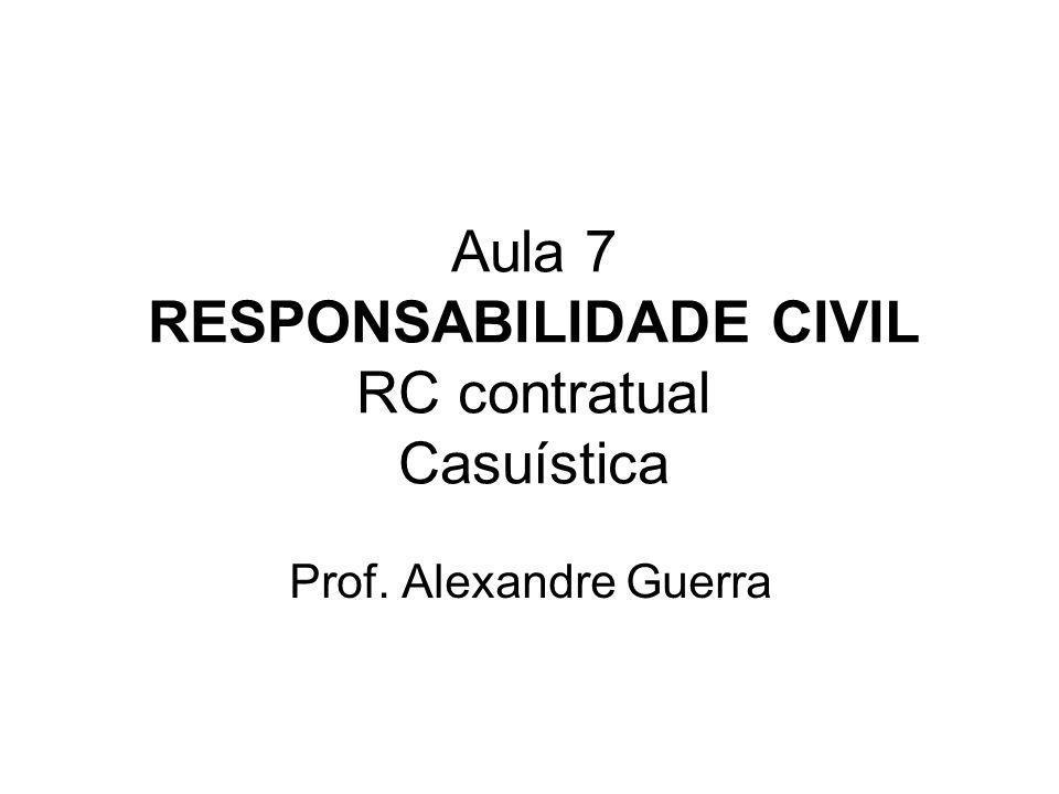 Aula 7 RESPONSABILIDADE CIVIL RC contratual Casuística Prof. Alexandre Guerra