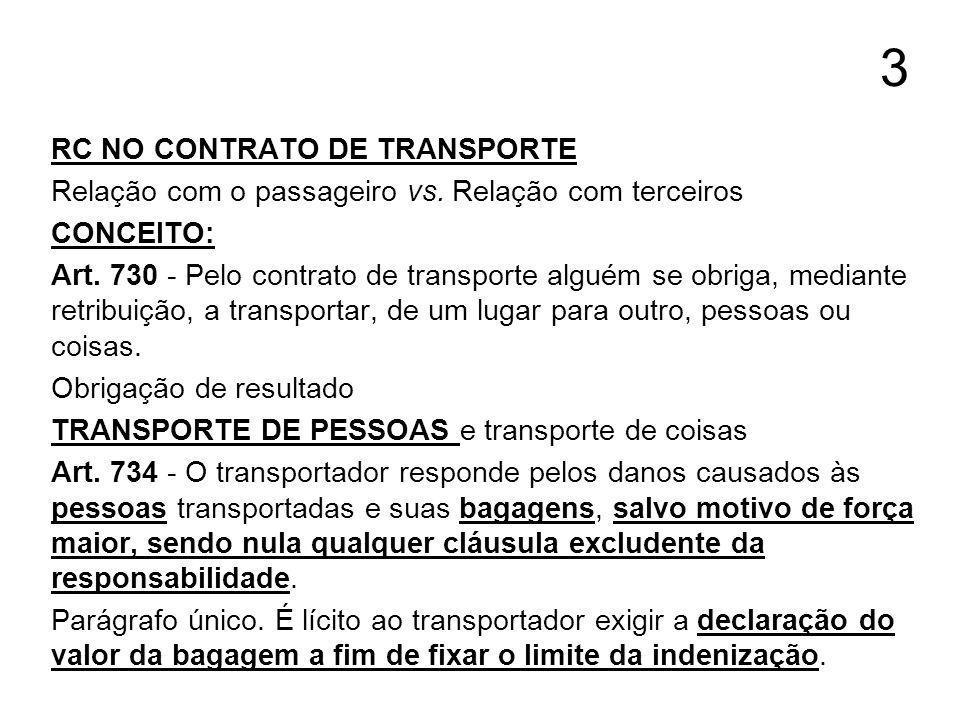 3 RC NO CONTRATO DE TRANSPORTE Relação com o passageiro vs. Relação com terceiros CONCEITO: Art. 730 - Pelo contrato de transporte alguém se obriga, m