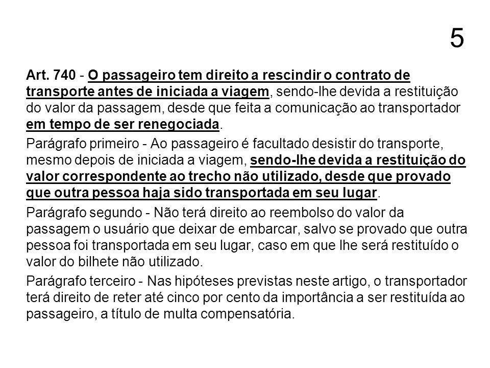 5 Art. 740 - O passageiro tem direito a rescindir o contrato de transporte antes de iniciada a viagem, sendo-lhe devida a restituição do valor da pass