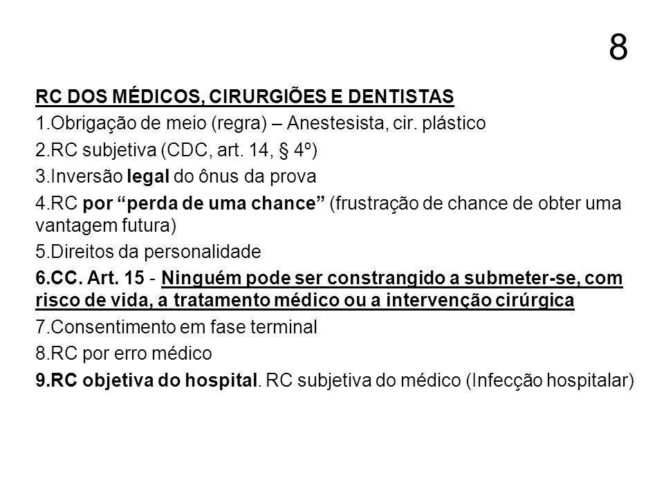 8 RC DOS MÉDICOS, CIRURGIÕES E DENTISTAS 1.Obrigação de meio (regra) – Anestesista, cir. plástico 2.RC subjetiva (CDC, art. 14, § 4º) 3.Inversão legal