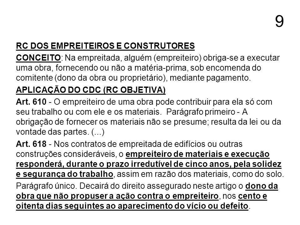 9 RC DOS EMPREITEIROS E CONSTRUTORES CONCEITO: Na empreitada, alguém (empreiteiro) obriga-se a executar uma obra, fornecendo ou não a matéria-prima, s