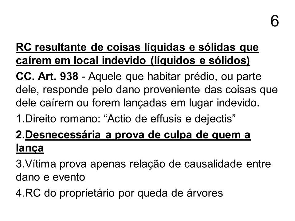 6 RC resultante de coisas líquidas e sólidas que caírem em local indevido (líquidos e sólidos) CC. Art. 938 - Aquele que habitar prédio, ou parte dele