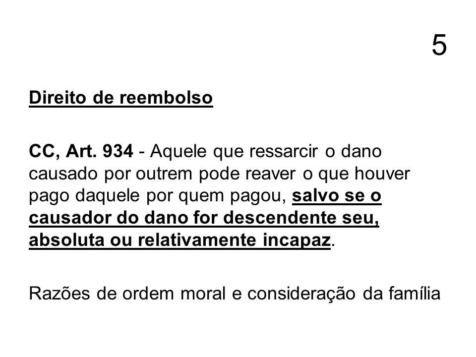 5 Direito de reembolso CC, Art. 934 - Aquele que ressarcir o dano causado por outrem pode reaver o que houver pago daquele por quem pagou, salvo se o