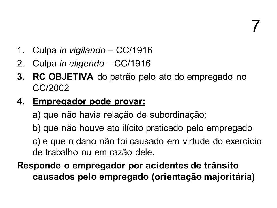 7 1.Culpa in vigilando – CC/1916 2.Culpa in eligendo – CC/1916 3.RC OBJETIVA do patrão pelo ato do empregado no CC/2002 4.Empregador pode provar: a) q