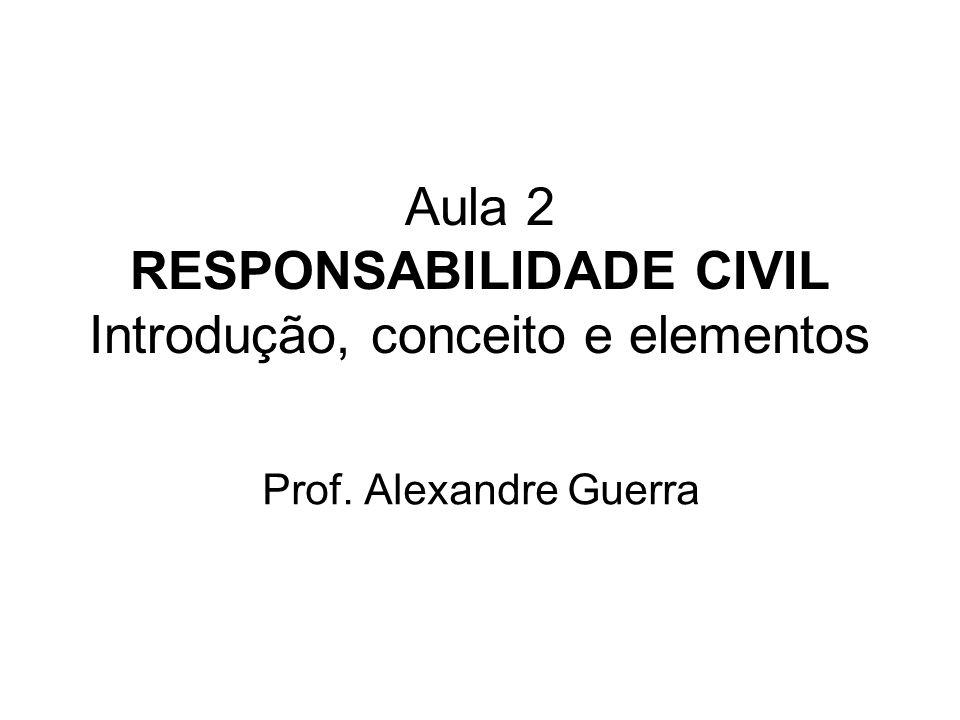 Aula 2 RESPONSABILIDADE CIVIL Introdução, conceito e elementos Prof. Alexandre Guerra