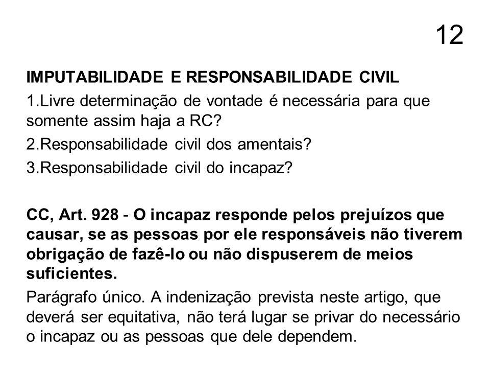 12 IMPUTABILIDADE E RESPONSABILIDADE CIVIL 1.Livre determinação de vontade é necessária para que somente assim haja a RC? 2.Responsabilidade civil dos