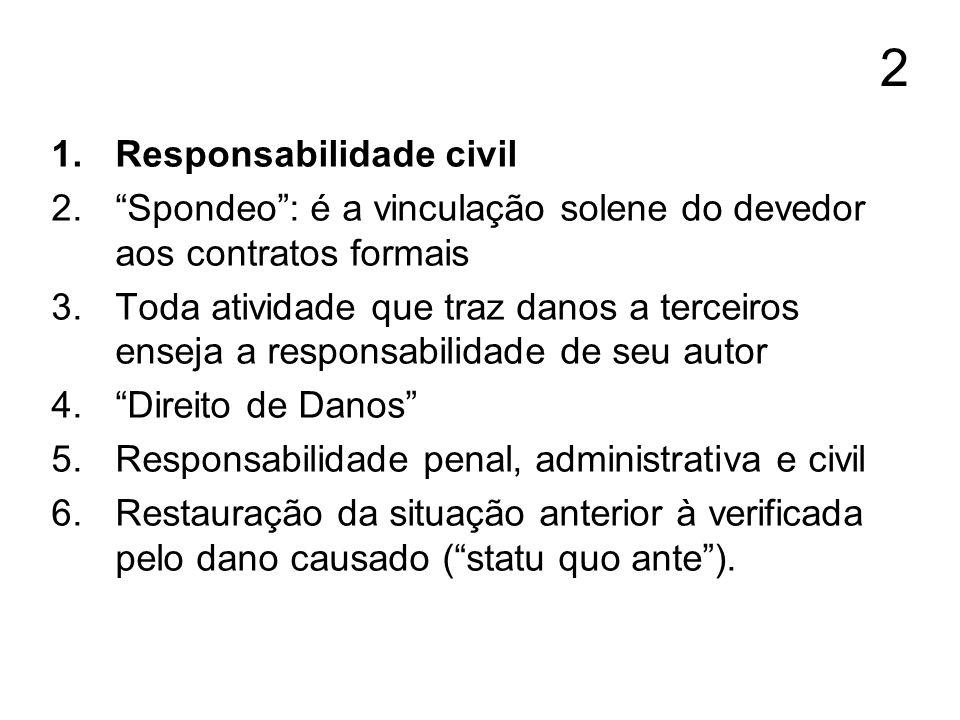 2 1.Responsabilidade civil 2.Spondeo: é a vinculação solene do devedor aos contratos formais 3.Toda atividade que traz danos a terceiros enseja a resp