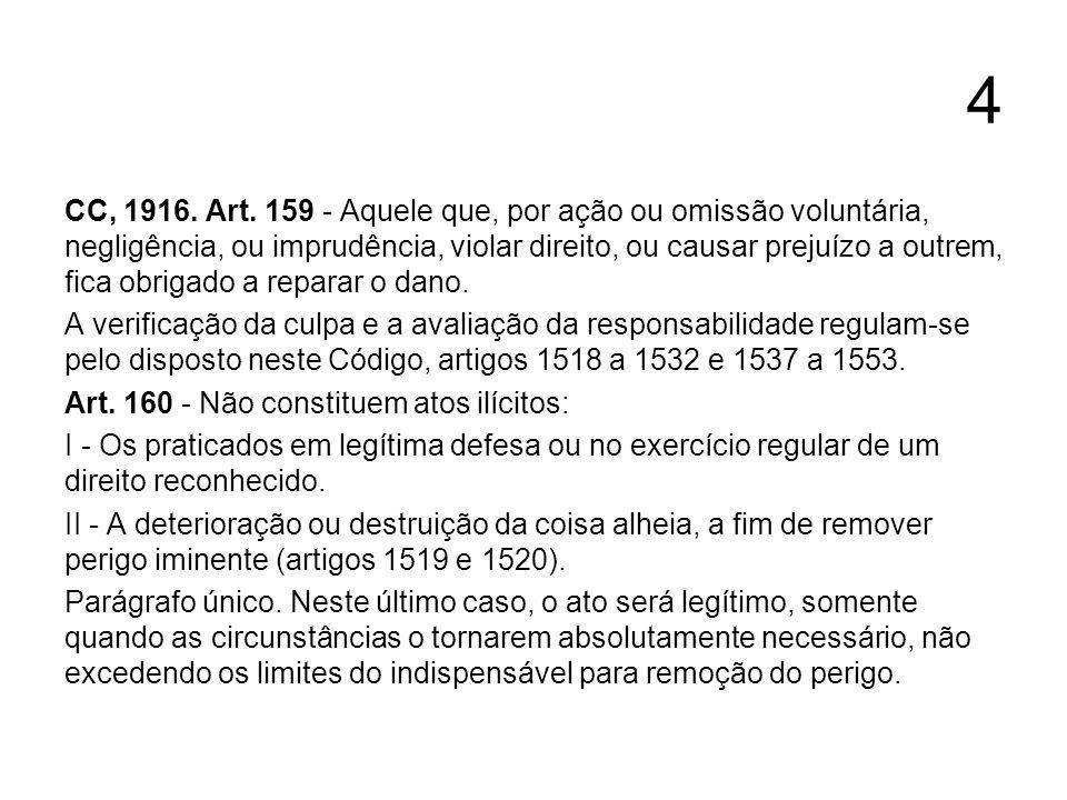4 CC, 1916. Art. 159 - Aquele que, por ação ou omissão voluntária, negligência, ou imprudência, violar direito, ou causar prejuízo a outrem, fica obri