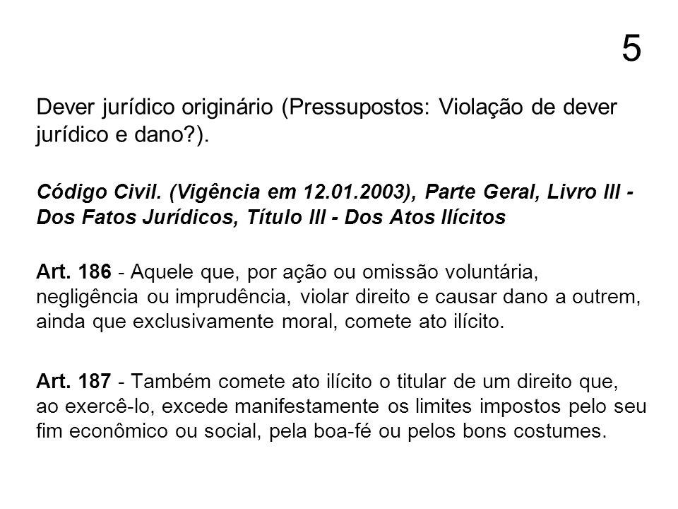 5 Dever jurídico originário (Pressupostos: Violação de dever jurídico e dano?). Código Civil. (Vigência em 12.01.2003), Parte Geral, Livro III - Dos F