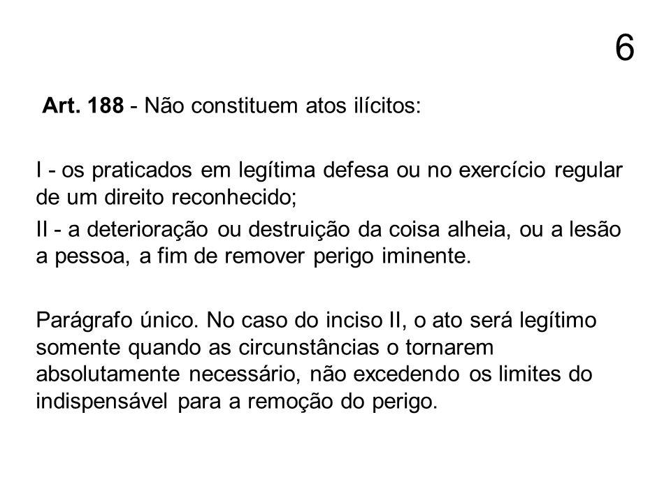 6 Art. 188 - Não constituem atos ilícitos: I - os praticados em legítima defesa ou no exercício regular de um direito reconhecido; II - a deterioração