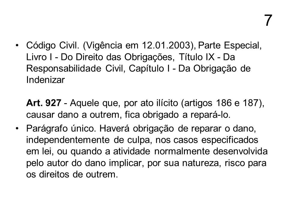 7 Código Civil. (Vigência em 12.01.2003), Parte Especial, Livro I - Do Direito das Obrigações, Título IX - Da Responsabilidade Civil, Capítulo I - Da
