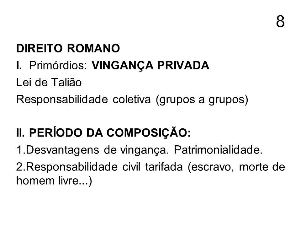 8 DIREITO ROMANO I. Primórdios: VINGANÇA PRIVADA Lei de Talião Responsabilidade coletiva (grupos a grupos) II. PERÍODO DA COMPOSIÇÃO: 1.Desvantagens d