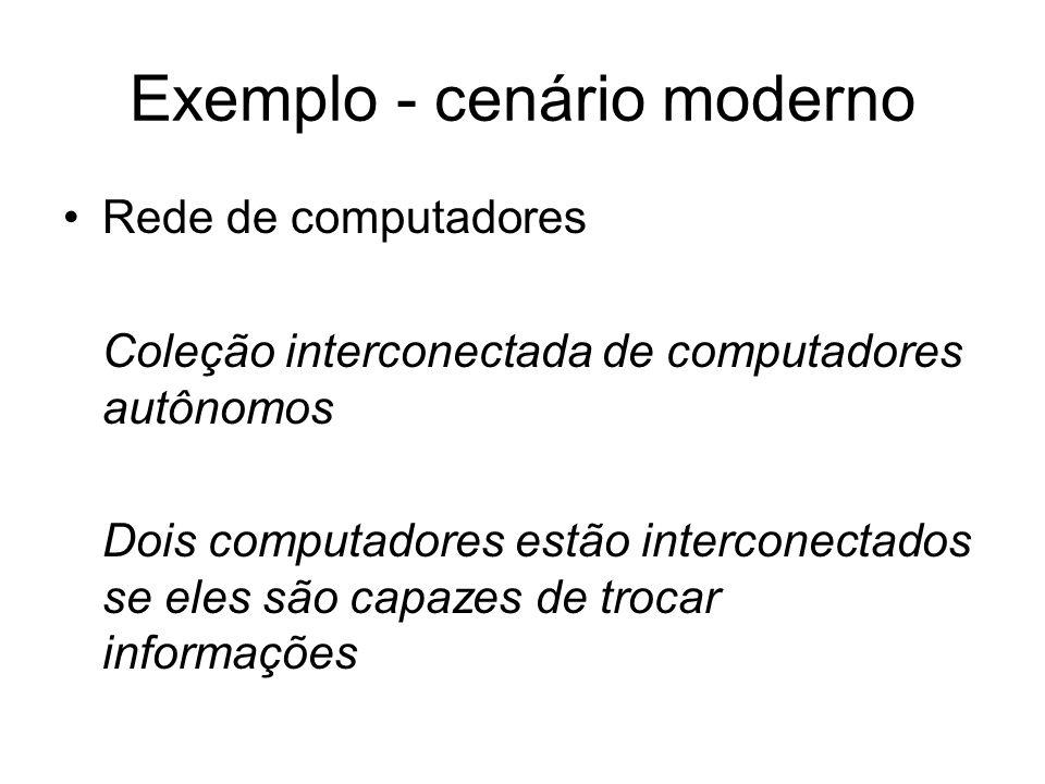 Rede de computadores Coleção interconectada de computadores autônomos Dois computadores estão interconectados se eles são capazes de trocar informaçõe