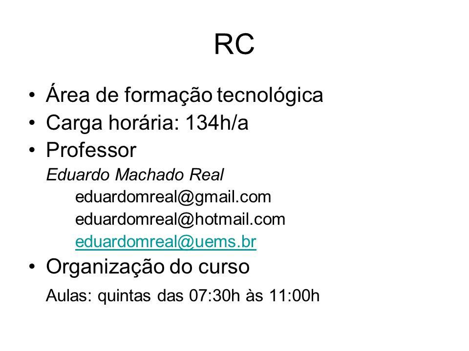 RC Área de formação tecnológica Carga horária: 134h/a Professor Eduardo Machado Real eduardomreal@gmail.com eduardomreal@hotmail.com eduardomreal@uems