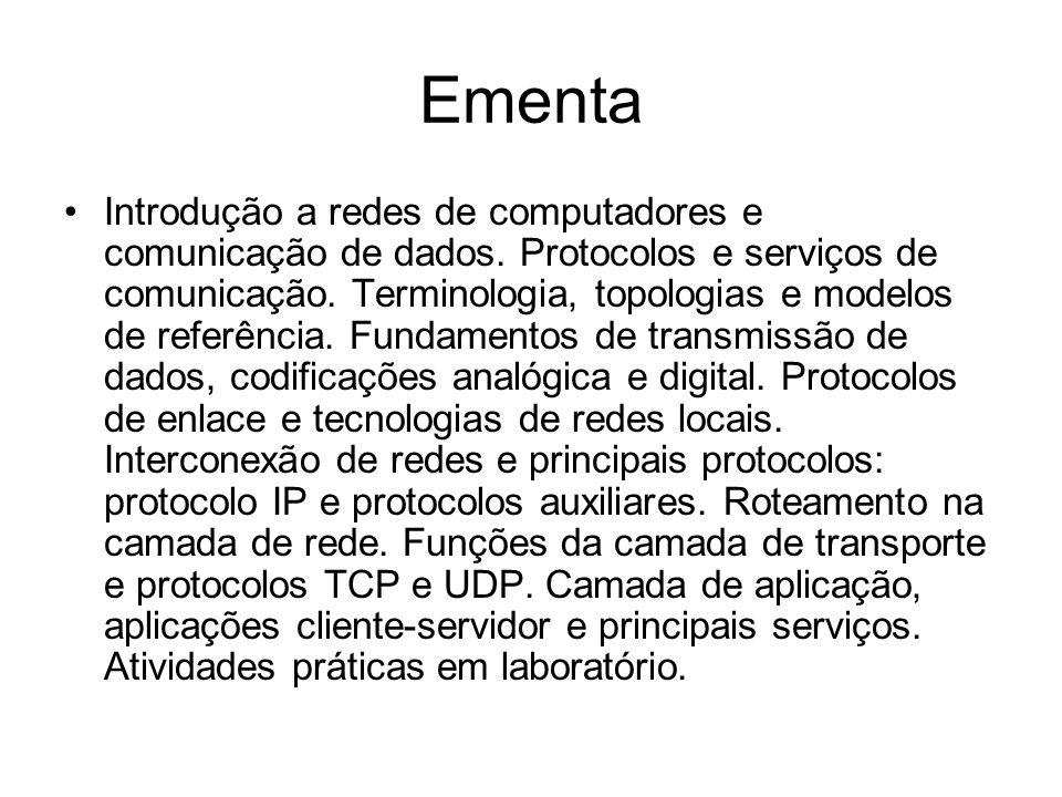 Ementa Introdução a redes de computadores e comunicação de dados. Protocolos e serviços de comunicação. Terminologia, topologias e modelos de referênc