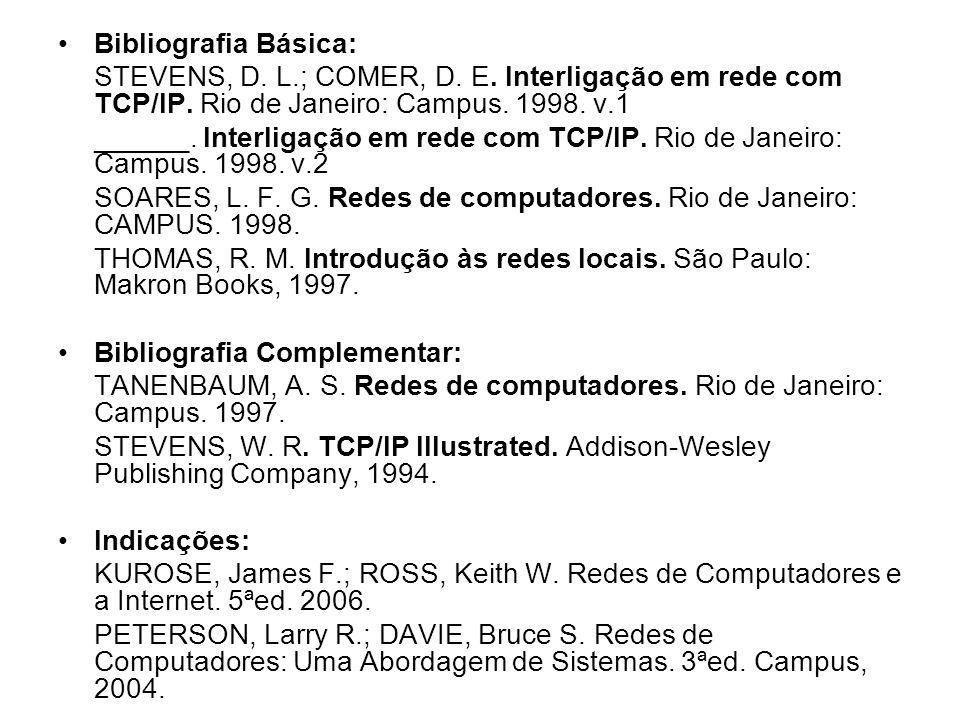 Bibliografia Básica: STEVENS, D. L.; COMER, D. E. Interligação em rede com TCP/IP. Rio de Janeiro: Campus. 1998. v.1 ______. Interligação em rede com
