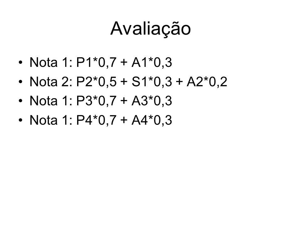 Avaliação Nota 1: P1*0,7 + A1*0,3 Nota 2: P2*0,5 + S1*0,3 + A2*0,2 Nota 1: P3*0,7 + A3*0,3 Nota 1: P4*0,7 + A4*0,3