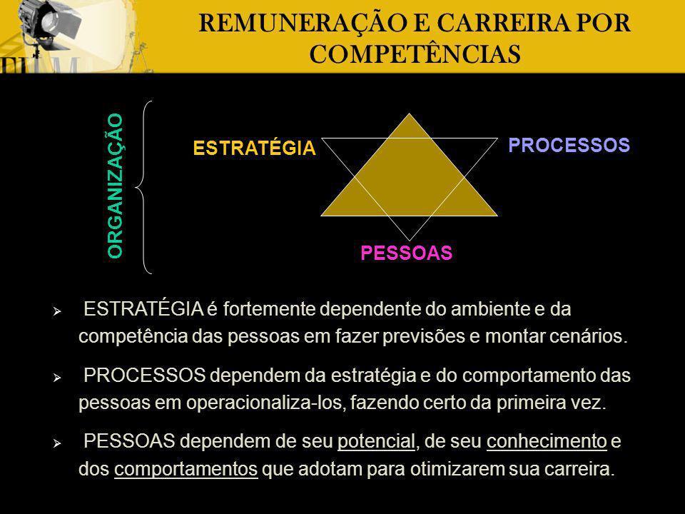 ESTRATÉGIA PESSOAS PROCESSOS REMUNERAÇÃO E CARREIRA POR COMPETÊNCIAS É por meio das PESSOAS que acontece a formulação da ESTRATÉGIA, a viabilização e melhoria dos PROCESSOS e a garantia dos RESULTADOS planejados