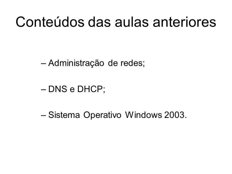 Conteúdos das aulas anteriores –Administração de redes; –DNS e DHCP; –Sistema Operativo Windows 2003.