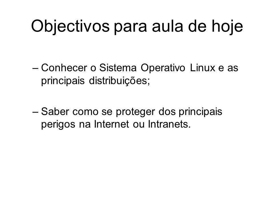 Objectivos para aula de hoje –Conhecer o Sistema Operativo Linux e as principais distribuições; –Saber como se proteger dos principais perigos na Inte