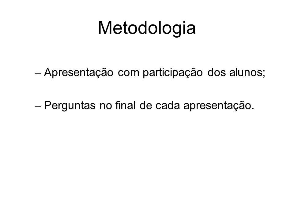 Metodologia –Apresentação com participação dos alunos; –Perguntas no final de cada apresentação.