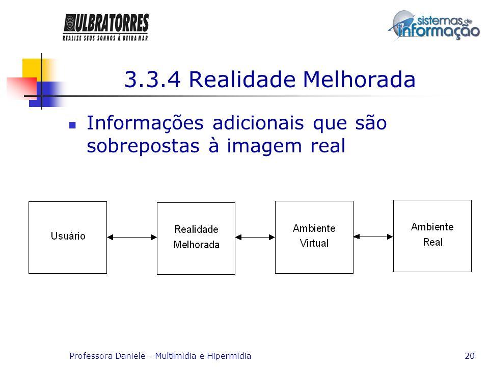 Professora Daniele - Multimídia e Hipermídia20 3.3.4 Realidade Melhorada Informações adicionais que são sobrepostas à imagem real