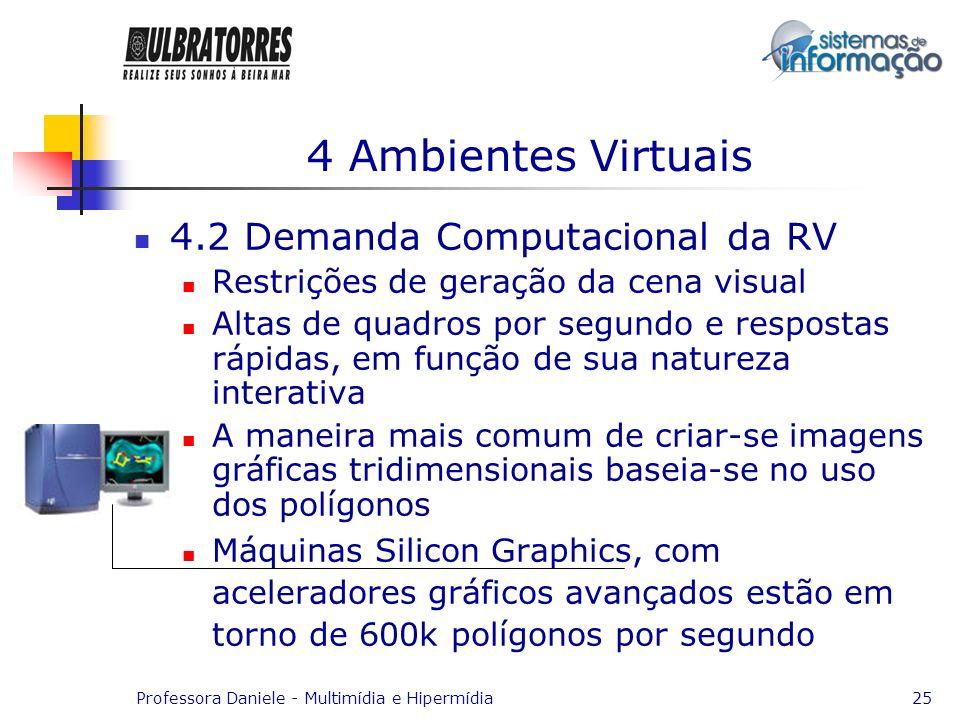 Professora Daniele - Multimídia e Hipermídia25 4 Ambientes Virtuais 4.2 Demanda Computacional da RV Restrições de geração da cena visual Altas de quad