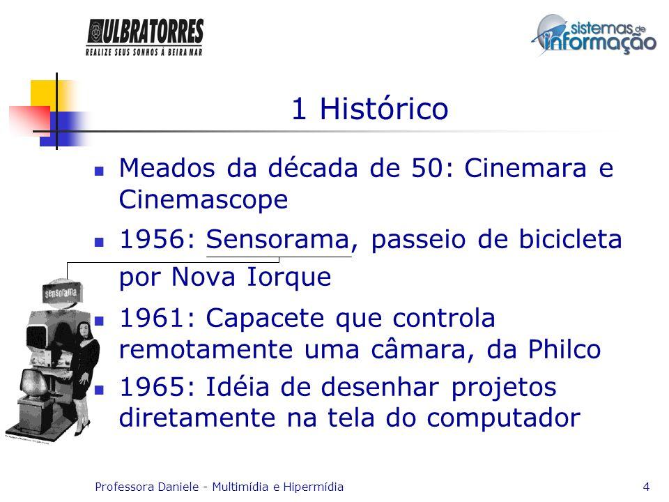 Professora Daniele - Multimídia e Hipermídia4 1 Histórico Meados da década de 50: Cinemara e Cinemascope 1956: Sensorama, passeio de bicicleta por Nov