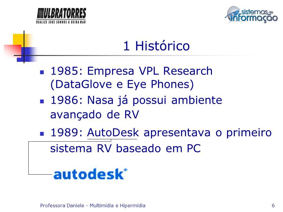 Professora Daniele - Multimídia e Hipermídia6 1 Histórico 1985: Empresa VPL Research (DataGlove e Eye Phones) 1986: Nasa já possui ambiente avançado d