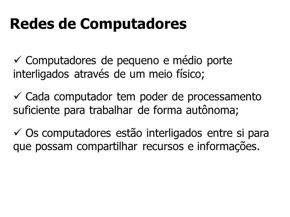 Computadores de pequeno e médio porte interligados através de um meio físico; Cada computador tem poder de processamento suficiente para trabalhar de
