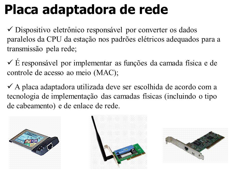 Placa adaptadora de rede Dispositivo eletrônico responsável por converter os dados paralelos da CPU da estação nos padrões elétricos adequados para a
