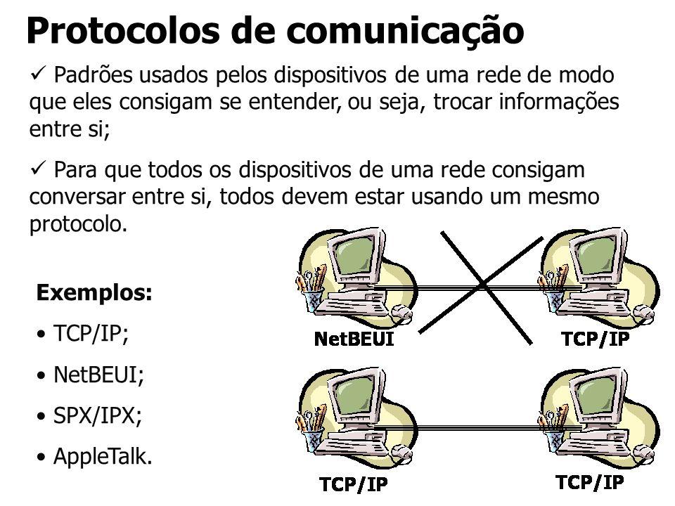 Protocolos de comunicação Padrões usados pelos dispositivos de uma rede de modo que eles consigam se entender, ou seja, trocar informações entre si; P