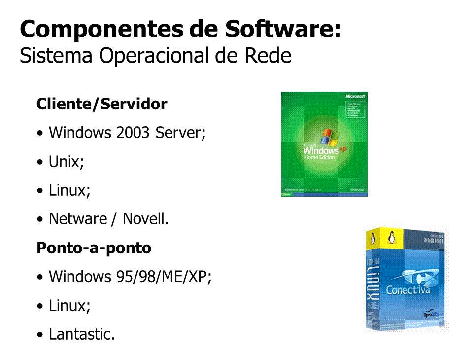 Componentes de Software: Sistema Operacional de Rede Cliente/Servidor Windows 2003 Server; Unix; Linux; Netware / Novell. Ponto-a-ponto Windows 95/98/