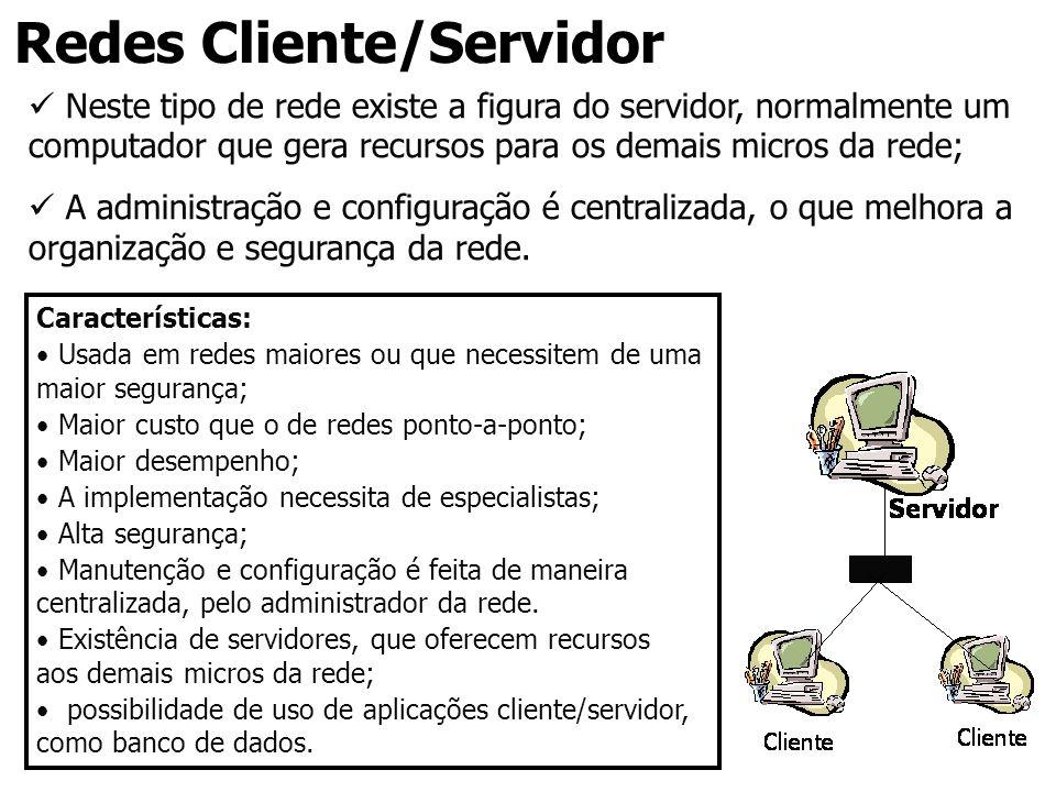 Redes Cliente/Servidor Neste tipo de rede existe a figura do servidor, normalmente um computador que gera recursos para os demais micros da rede; A ad