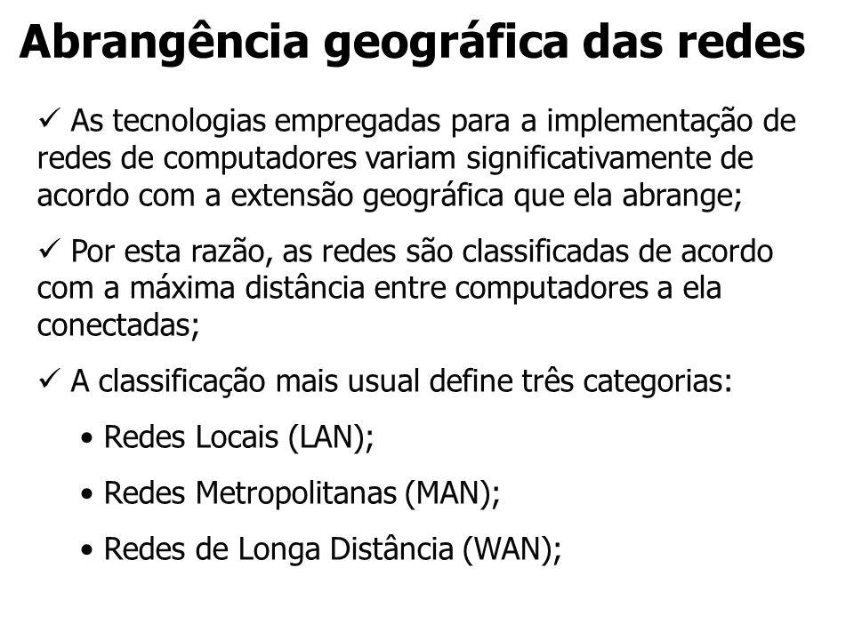 Abrangência geográfica das redes As tecnologias empregadas para a implementação de redes de computadores variam significativamente de acordo com a ext